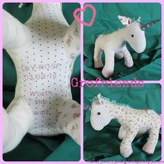 Babygro keepsake Unicorn - handmade in the UK by www.grofriends.co.uk #handmade #keepsake #baby #unicorn