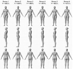 For example, here's a model designed by Body Labs of six different women's bodies with the same BMI.