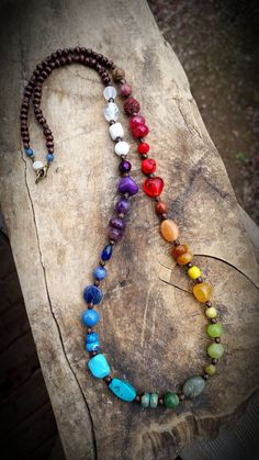 Beaded Chakra Necklace - Natural Gemstone Necklace - Buddha - Rainbow Necklace - Crystals - Reiki - Meditation - Wood Gemstone Necklace - fix. Chakra Necklace, Chakra Jewelry, Boho Necklace, Gemstone Necklace, Boho Jewelry, Beaded Jewelry, Jewelery, Jewelry Necklaces, Handmade Jewelry