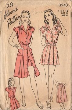 Vintage 1940s Advance Pattern 3940 Ladies Button Up Playsuit and Skirt Bust 34 Hip 37