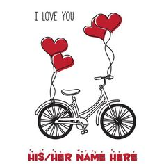 Cute Love Bird Couple Bicycle Greeting With Your Name