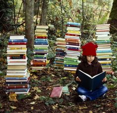Everything about this is wonderful! The woods and books. Two best things ever.