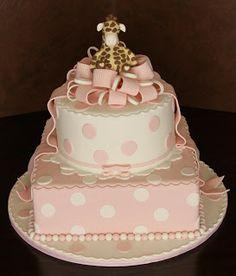.: Giraffe Polka Dot Baby Shower Cake