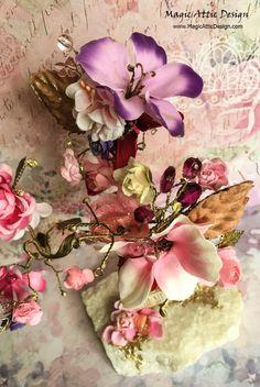 DIY handmade tree pink blooms decoration