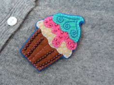 muffin felt brooch, embroidered brooch OOAK cupcake Unique Gift for Her handmade gifts Beautiful brooch funny brooch sweet jewelry by LolaFUN on Etsy