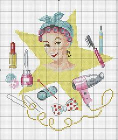 point de croix femme salle de bain- cross-stitch woman in bath vintage