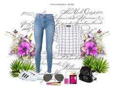 """""""Bez naslova #4"""" by zerina-okanovic ❤ liked on Polyvore featuring 7 For All Mankind, Myne, PARENTESI, adidas, Victoria's Secret, Ray-Ban and Essie"""