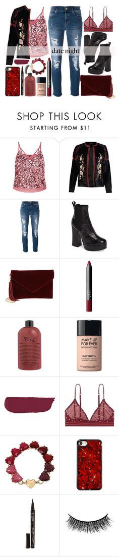 """Date Night in Distressed Denim"" by alaria ❤ liked on Polyvore featuring Miss Selfridge, Boohoo, 7 For All Mankind, Shellys, BP., NARS Cosmetics, MAKE UP FOR EVER, LoveStories, Betsey Johnson and Smith & Cult"