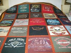 Queen Size T Shirt Memory Quilt.  This one was made from my customers Harley Davidson shirt collection.  It also has been machine quilted.   Memory Quilts 4 u