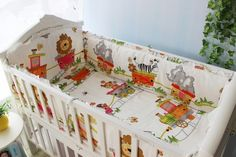 Promotion! 6pcs Lion Cartoon Crib Bedding Set Soft Baby Sheet Bumpers,Baby Bedding Set,include(bumpers+sheet+pillow cover)