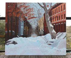 """Biggest painting to date, """"Brooklyn Snow"""" measures in at a whopping 5'6"""" wide x 4'10"""" high! Acrylic on stretched canvas.  © 2013 Tamara David"""