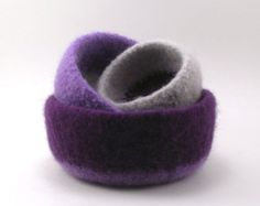 Felted Wool Nesting Bowls - purple, lavender and smoke gray