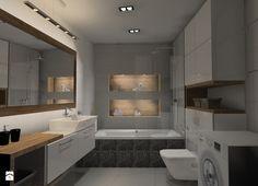 Łazienka beton z drewnem - Średnia łazienka w bloku w domu jednorodzinnym bez okna, styl nowoczesny - zdjęcie od Anna Jędrzejuk