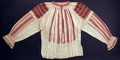 The disposition of embroidery on this blouse is distinctly Romanian. Dense bands of geometric motifs over the shoulders and vertical bands below alternating with drawnwork bands are quintessentially Romanian Folk Embroidery, Shirt Embroidery, Embroidery Fashion, Embroidered Blouse, Folk Costume, Costumes, Sewing Baby Clothes, Costume Collection, Costume Institute