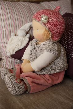 waldorf doll - love the outfit  soft dusty colours