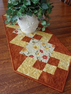 Quilted Table Runner Fall Floral Rust and Golden by susiquilts