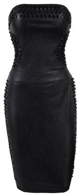 Studded Strapless Leatherette Dress. Super cute for a rock star Bridesmaids dress