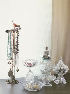 Showcase your beautiful jewelry! Use all that glassware you have lying around for displays. via: http://www.bhg.com/blogs/better-homes-and-gardens-style-blog/2012/07/12/diy-ify-display-your-beautiful-jewelry/