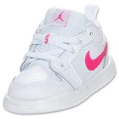Girls' Toddler Air Jordan 1 Low Basketball Shoes | FinishLine.com | White/Pink Foil/Black