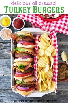 These All Dressed Turkey Burgers are perfect for your next barbecue! A tender turkey burger dressed with beer braised onions, cheddar cheese, turkey bacon and a maple BBQ aioli. Grilled Burger Recipes, Grilled Turkey Burgers, Turkey Burger Recipes, Grilling Recipes, Vegan Ground Beef, Ground Beef Recipes, Cheese Turkey, Turkey Bacon, Healty Dinner