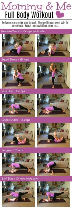 Total body workout that includes your baby! This workout will hit your upper body, lower body, core and back!