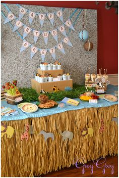 safari first birthday party table picture
