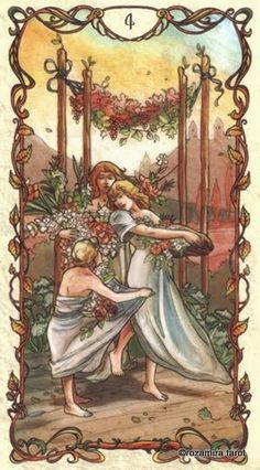Four of Wands ~ Tarot Card by Mucha