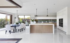 Open Plan Kitchen Living Room With Island Interior Design Open Plan Kitchen Dining Living, Open Plan Living, Living Room Kitchen, Open Kitchen, Kitchen White, Küchen Design, House Design, Interior Design Gallery, Cuisines Design