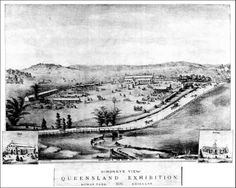 Lovely drawing called the Bird's Eye View Queensland Exhibition grounds, Bowen Park, 1876