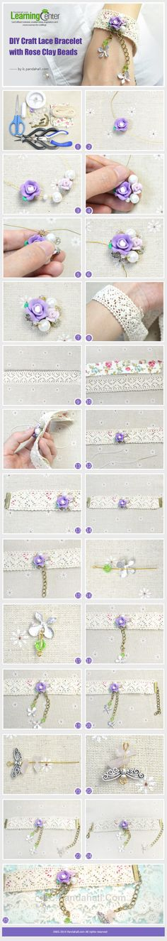 This tutorial is aimed at teaching you to DIY craft lace bracelet with rose clay beads. Want to be a graceful woman? Now this tutorial can help you to fulfill your desires.