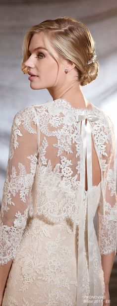 Pronovias knows that every fairy tale has a different leading lady. That's why it has created a beautiful collection for romantic, classic brides, as well as modern, daring heroines. Please contact… Bridal Bolero, Bridal Cape, Lace Bolero Wedding, Pronovias Wedding Dress, Wedding Gowns, Blush Bridal, Wedding Jacket, Lace Weddings, Bridal Collection