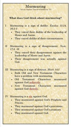 What does God think about Murmuring - grumbling. Bible Study Notebook, Bible Study Tips, Scripture Study, Bible Lessons, Bible Notes, Bible Scriptures, Beautiful Words, Religion, Bible Teachings