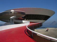 The Niterói Contemporary Art Museum designed by Oscar Niemeyer.