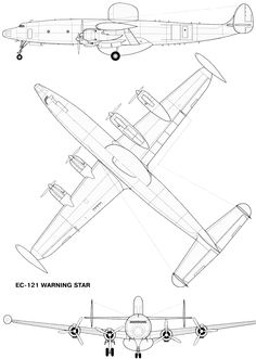 "warning star aircraft | Чертеж ""Lockheed EC-121 Warning Star"""