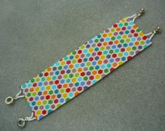 Handmade Flat Hexagon Beaded Earrings by ErikaVondrakDesigns