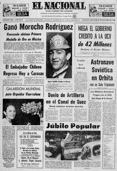 """Portada del 27 de octubre de 1968. Primera medalla de oro para Venezuela por Francisco """"Morochito"""" Rodríguez, en Boxeo en los Juegos Olímpicos de México 1968."""