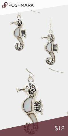 """Mother of Pearl Seahorse Earrings • Color : Antique Silver, Mother of Pearl • Theme : Reptile, Sea Life  • Size : 0.6"""" W, 1.6"""" L  • Fish hook back • Mother of pearl seahorse earrings Jewelry Earrings"""