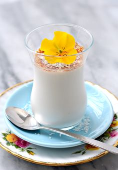 Coconut Panna Cotta With Coconot Blossom Sugar and this little yellow flower is from our own teeny tiny garden.