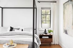 MyDomaine: 11 simple rules that make a small bedroom feel like a master Best Blue Paint Colors, Best Neutral Paint Colors, Best White Paint, White Paints, Decorating Small Spaces, Decorating Ideas, Painting Kitchen Cabinets, White Walls, Interior Design