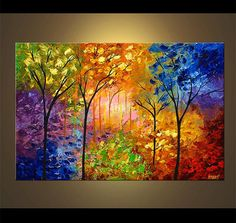 """Colorful Blooming Trees Painting Original Abstract Landscape  Modern Palette Knife by Osnat - MADE-TO-ORDER - 36""""x24"""""""