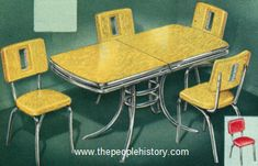 30 by 48 inch table (opens to 30 by 60 inch). Available in mother-of-pearl effect green, red, sunshine yellow or dawn grey colours. Yellow Kitchen Tables, Retro Table And Chairs, Yellow Dining Room, Dining Room Sets, Kitchen Dining, 1950s Furniture, Antique Bedroom Furniture, Bedroom Vintage, Room Paint Colors