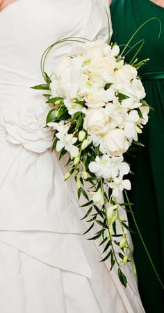 Wedding bouquet- white roses and white flowers- cascading bridal bouquet