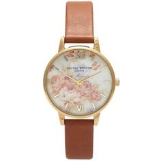 Olivia Burton Women's Flower Show Motif Leather Strap Watch