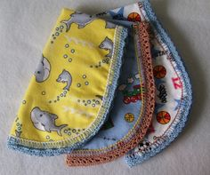 Baby Dolphin Burp Pad Cloth is handmade with crocheted edge is sure to make you the hit of the baby shower - by jillybeansboutique,