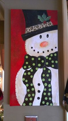 Christmas Snowman painting.