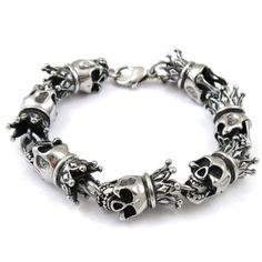 Stainless Steel Men's Gothic Crown Skull Link Bracelet
