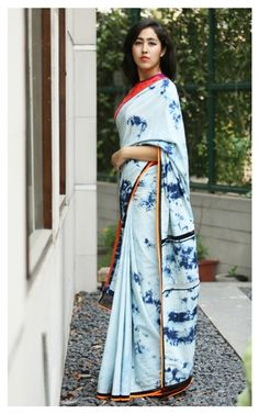 Denim saris by Anubha Jain.