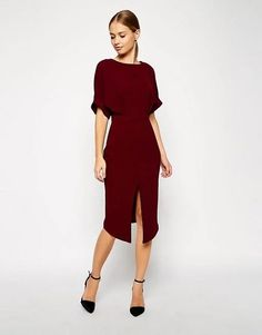 wine color midi length fall dress