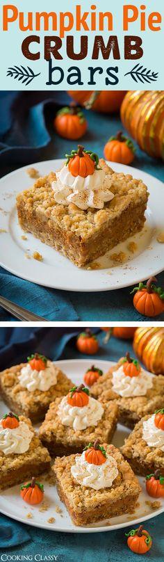 Pumpkin Pie Crumb Bars - one of my FAVORITE fall recipes! Cookie + pie. So good!