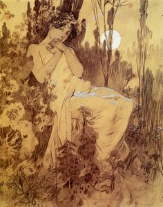 1899 'Le Chant du Rossignol' ink & tvättar på papper 40,1 x 32,1 cm © Alphonse Mucha Estate-Artister Rights Society (ARS), New York-ADAGP, Paris